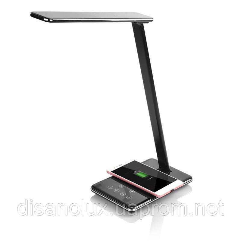 Настільна лампа LD -10 LED 10W 220V чорна безпровідна зарядка для телефону
