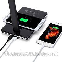 Настільна лампа LD -10 LED 10W 220V чорна безпровідна зарядка для телефону, фото 3