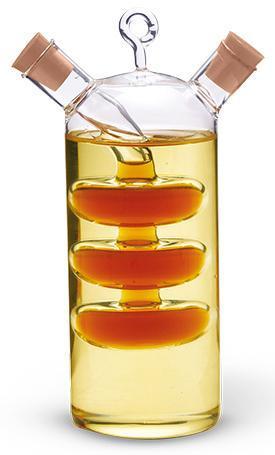 Емкость Fissman для масла 350мл и уксуса 50мл (2 в 1), стеклянная
