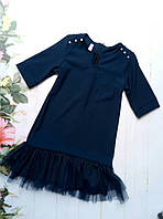 Платье школьное детское, низ - капроновая оборка, р 128-152, синее