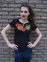 """Вышитая женская футболка """"Подсолнух"""" 669 (Л.Л.Л) , фото 1"""