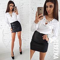 Костюм женский черная короткая юбка и белая шелковая блузка