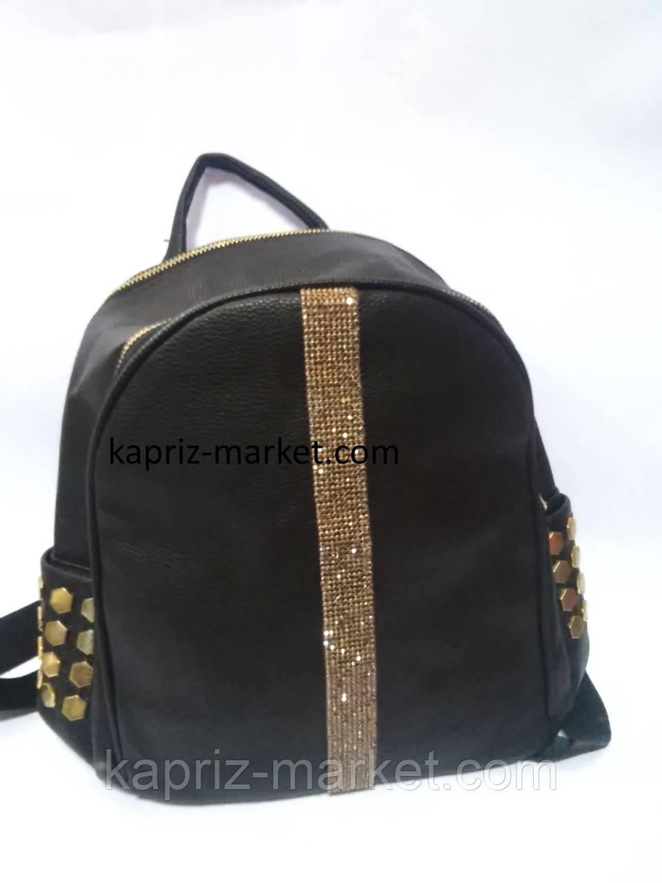 Рюкзак кожзам с камнями, среднего размера, 27см х 23см х 13см, фото 1