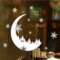 """Новогодняя силиконовая наклейка на окна """"Луна"""" - 35*25см"""
