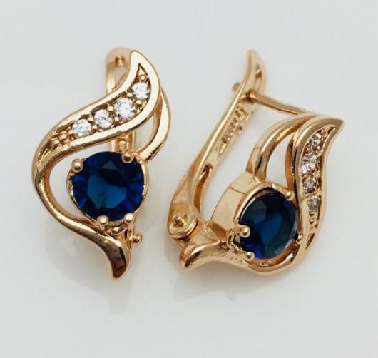 Серьги Fallon Голубика синие позолота 18К