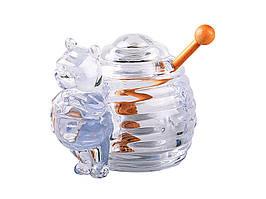 Банка для меда стеклянная с ложкой 355-058