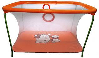 Манеж детский игровой KinderBox люкс Оранжевый Hello Kitty с мелкой сеткой (km 200)