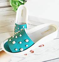Кожаные шлепанцы с жемчугом Обувь Vistani