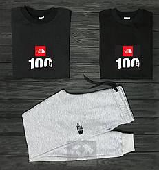 Мужской комплект два свитшота и штаны The North Face черного и серого цвета (люкс копия)