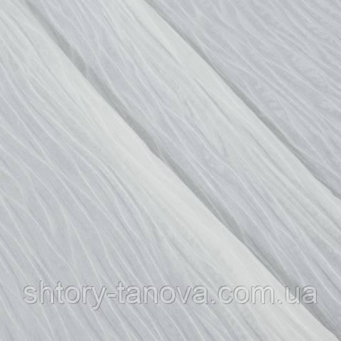 Тюль батист с утяжелителем, волна, молочный
