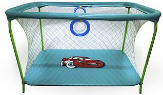 Манеж детский игровой KinderBox люкс Бирюзовый тачки с крупной сеткой (km 199)