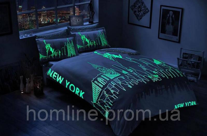 Постельное белье Tac сатин Glow New York gri серый евро размера