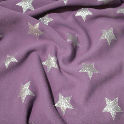 Трикотаж на меху принт звезды на сиреневом, фото 2