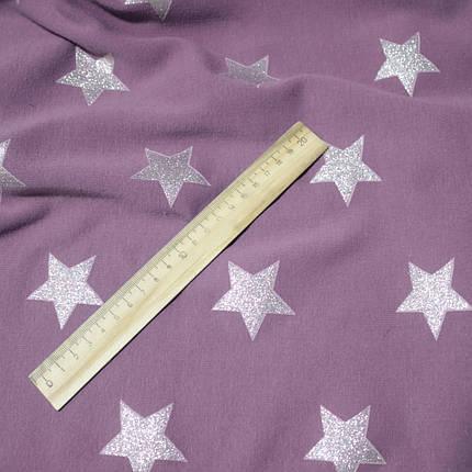 Трикотаж на хутрі принт зірки на бузковому, фото 2