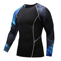 Чоловіча футболка для фітнесу з довгим рукавом (рашгард rashgard), чорно-синя, фото 1