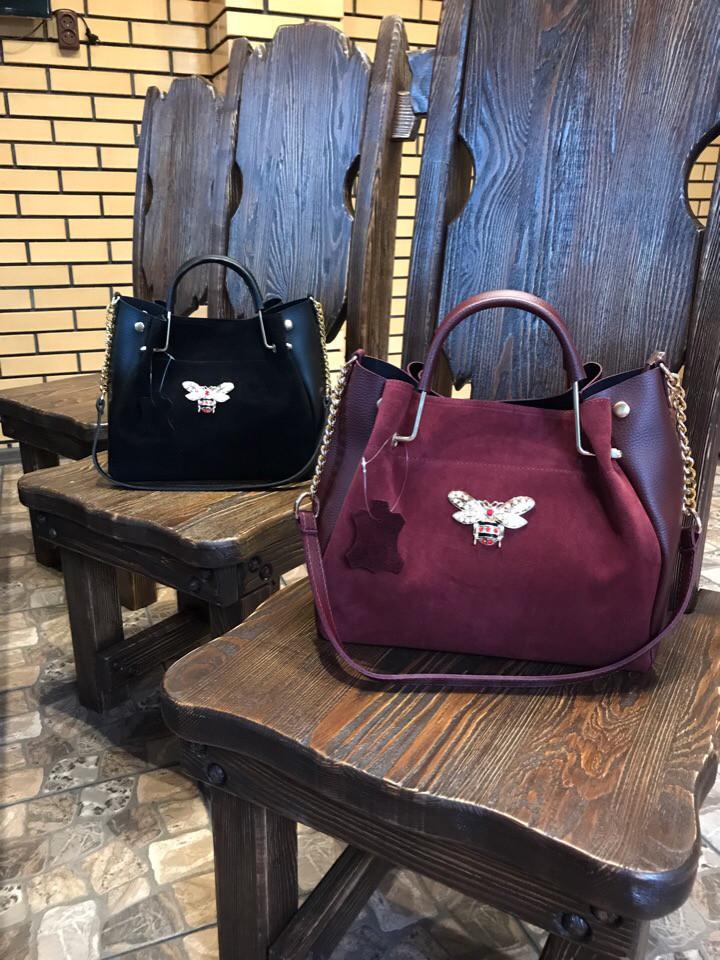 Стильная замшевая сумка с осой