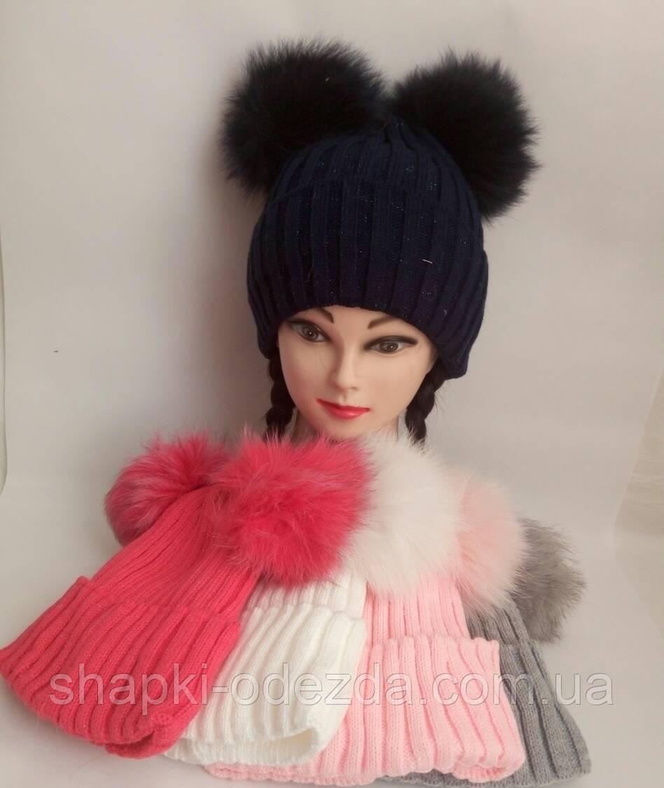 Детская шапка на флисе для девочки р 50-52