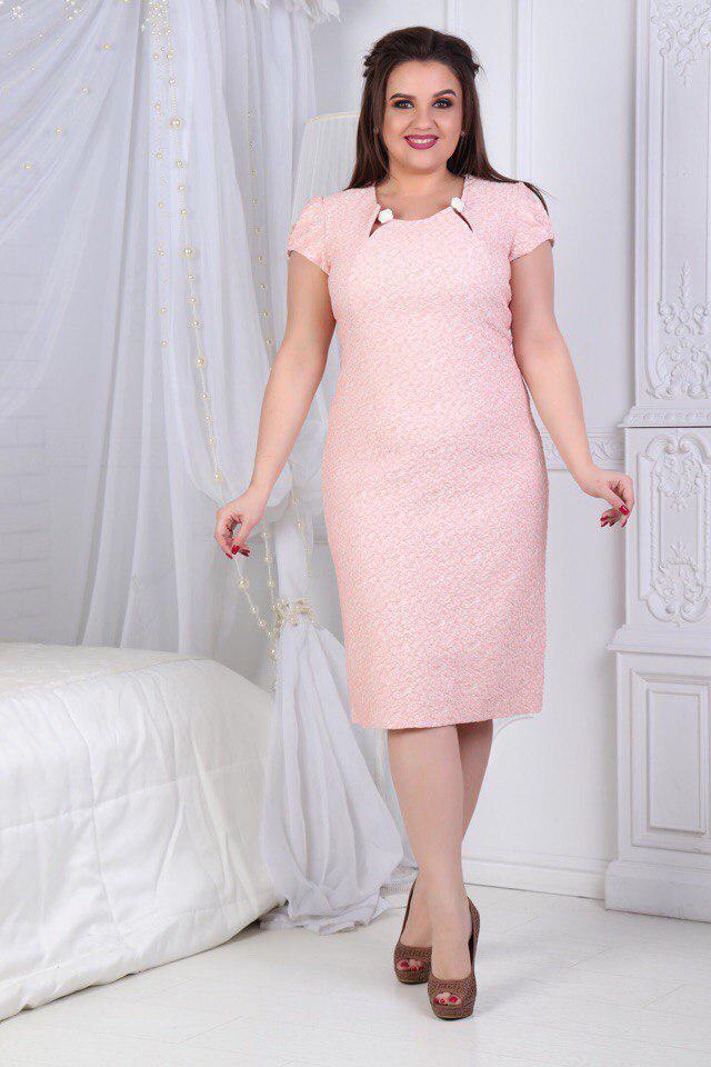 Платье  больших размеров 50+ с необычным вырезом декольте с декором / 2 цвета арт 6291-504