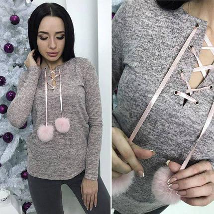 Серый тонкий свитер, фото 2