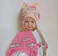 Детская шапка для девочки 95% котон р 48-50
