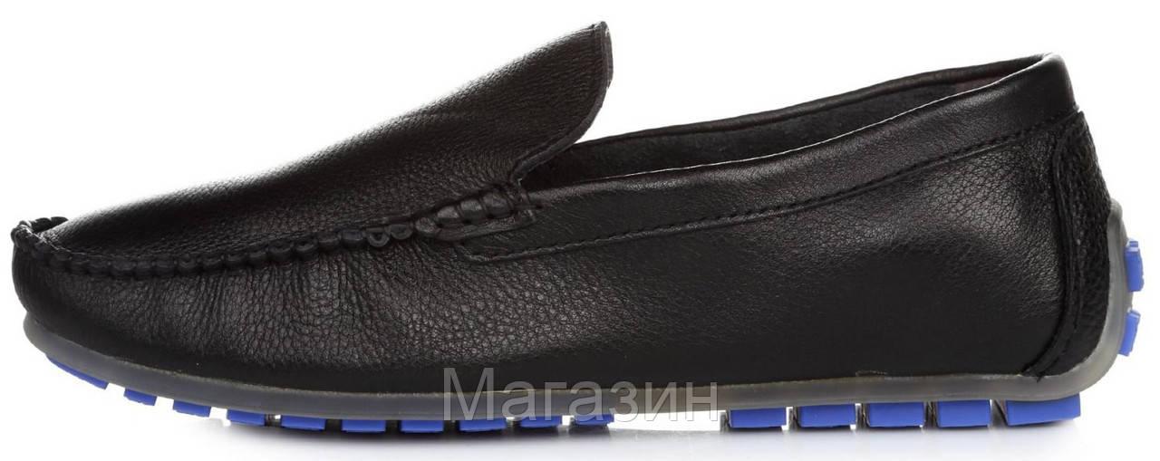 Мужские кожаные мокасины Clarks Classic Moccasin Black Кларкс черные