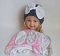 Детская шапка для девочки 95% котон р 46-48