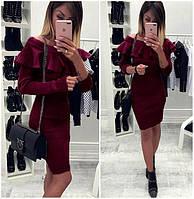 Модное стильное нарядное платье с воланом длинный рукав