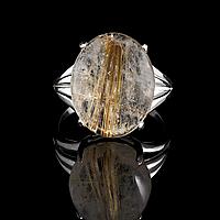 Волосатик рутиловый кварц, серебро 925, кольцо, 900КВ