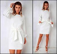 Модное стильное нарядное платье белое с поясом длинный рукав