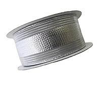 Лента парча с люрексом Серебряная (металлизированная)  4 см/23 м