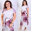 Длинное летнее платье  больших размеров 50+ с принтом / 2 цвета арт 6294-504, фото 2