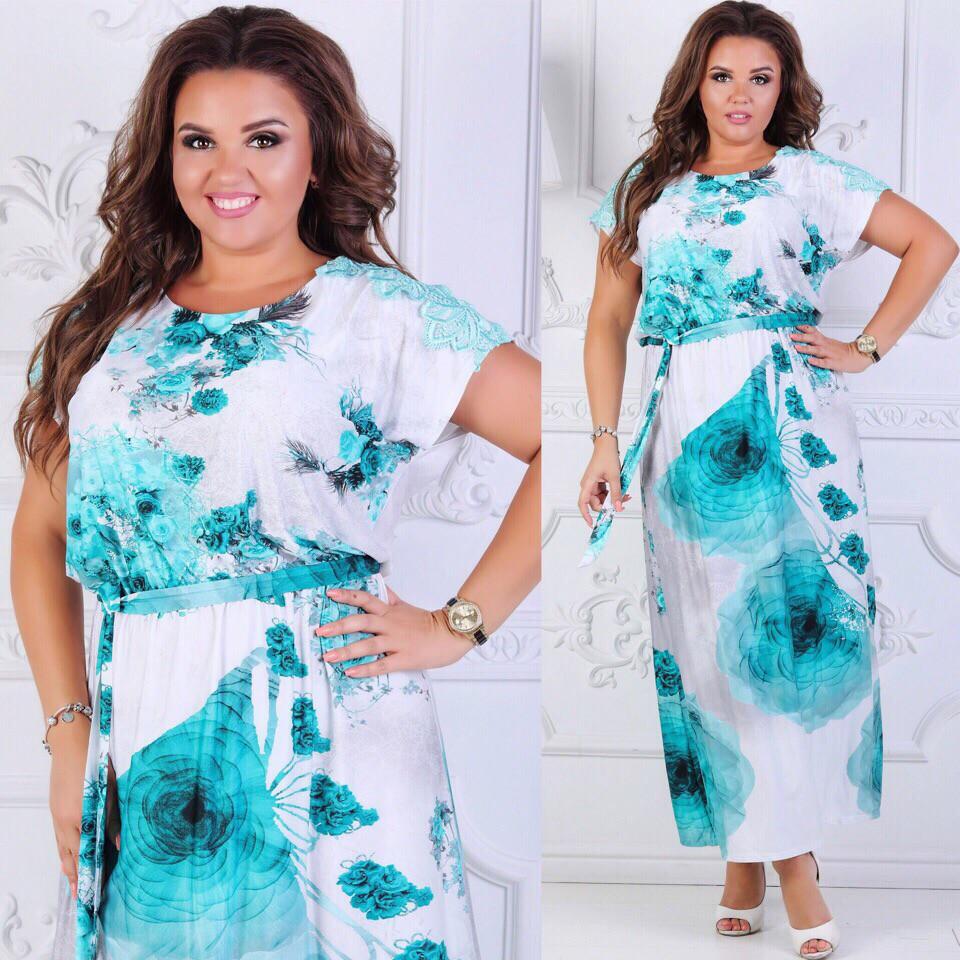 Длинное летнее платье  больших размеров 50+ с принтом / 2 цвета арт 6294-504