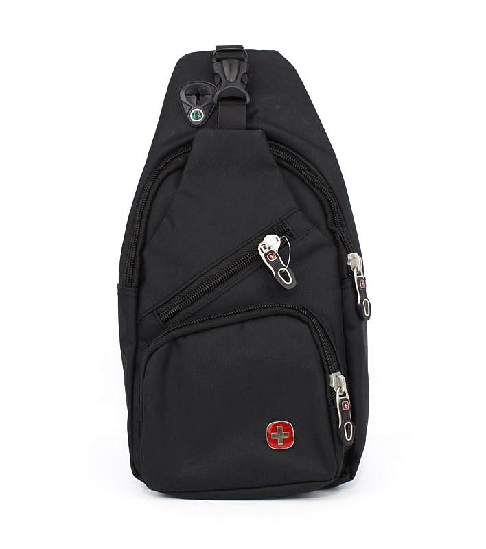 Рюкзак через плечо, слинг с выходом для наушников черный SWGelan 806