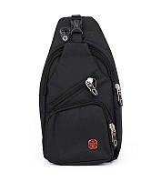 Рюкзак через плечо, слинг с выходом для наушников черный SWGelan 806, фото 1