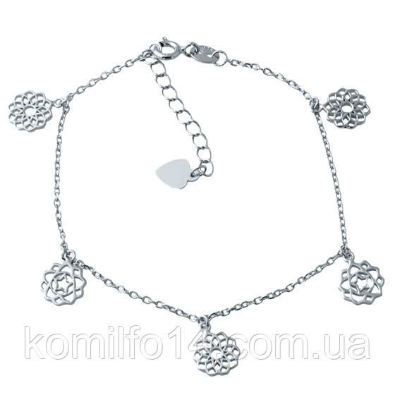 Женский серебряный браслет на ногу