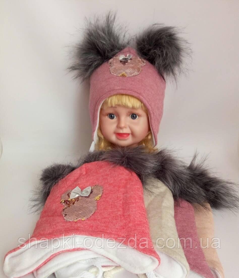 Детская шапка на флисе+холлофайбер для девочки р 48-50