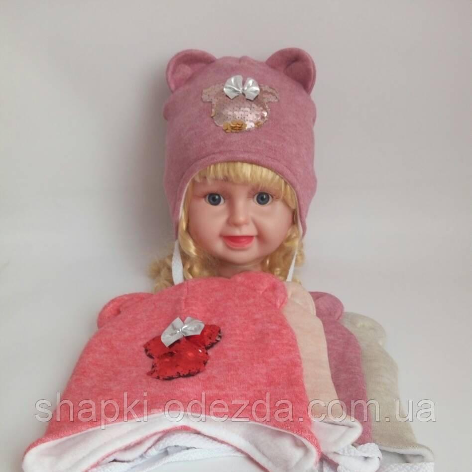 Детская шапка на флисе для девочки р 46-48