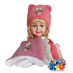 Детская шапка утепленная холлофайбером, на флисовой подкладке, для девочки р-р 38-40 (5 ед в уп)