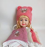 Детская шапка на флисе+холлофайбер для девочки р 38-40