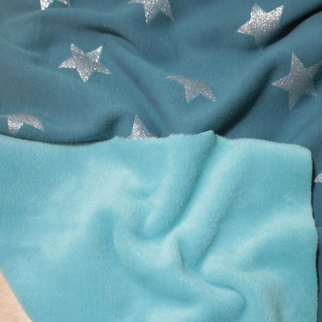 Трикотаж на меху принт звезды на голубом