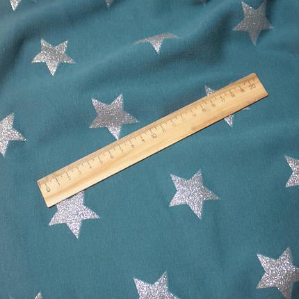 Трикотаж на меху принт звезды на голубом, фото 2