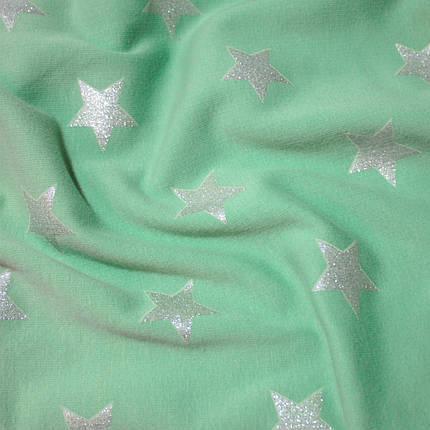 Трикотаж на меху принт звезды на светло-зеленом, фото 2