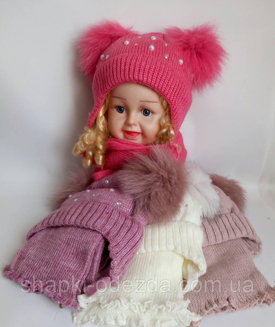 Детская шапка+шарф на флисе для девочки р 46-48