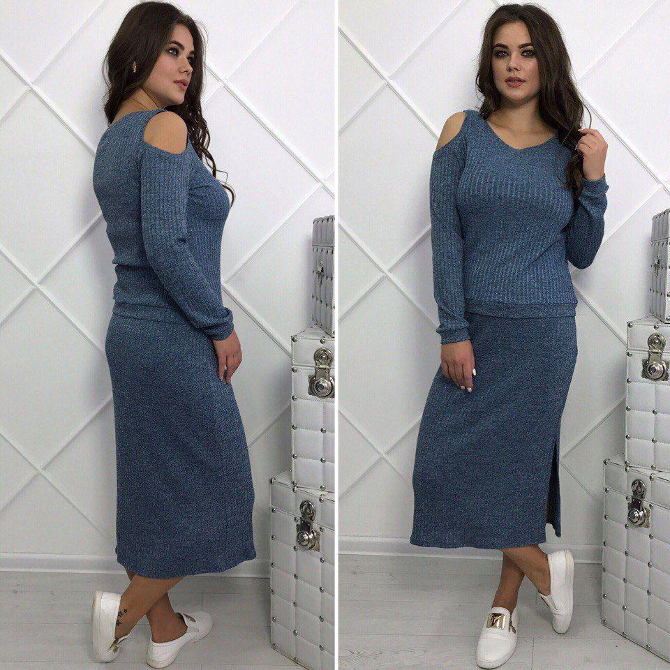 Осенний трикотажный комплект больших размеров 48+ туника и юбка миди / 2 цвета арт 6301-504