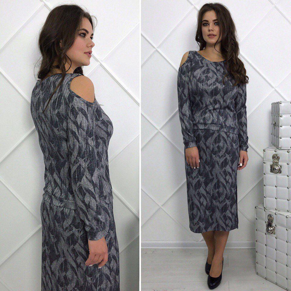 Осенний трикотажный комплект больших размеров 48+ туника и юбка миди с принтом арт 6302-504