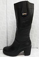 Сапоги высокие демисезонные из натуральной кожи на широком каблуке от  производителя модель