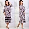 Элегантное  платье  больших размеров 58+ с принтом / 2 цвета арт 6304-504, фото 2
