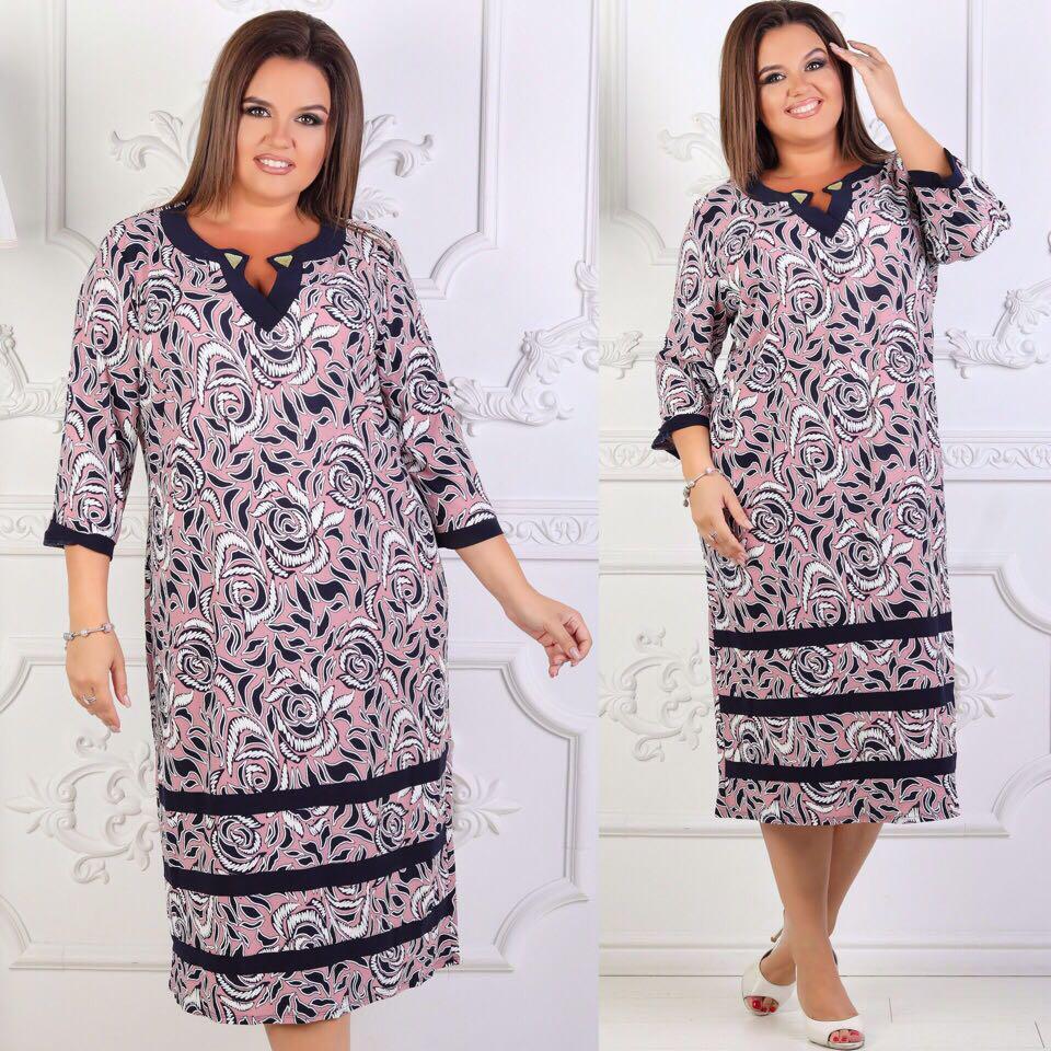 Элегантное  платье  больших размеров 58+ с принтом / 2 цвета арт 6304-504