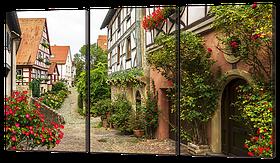 Модульная картина Улица европейского городка 104x58 см Код: W941