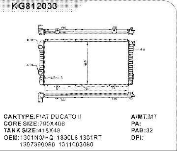 Радиатор охлаждения Citroen Jumper 1994- (790*410мм по сотах) KEMP